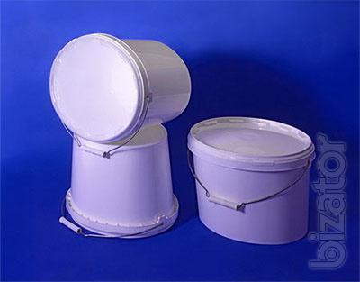 Plastic containers for food products: cruets round, oval; bucket; container