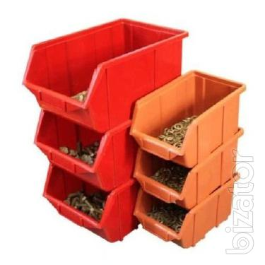 Storage of parts in trays. Sale trays and containers