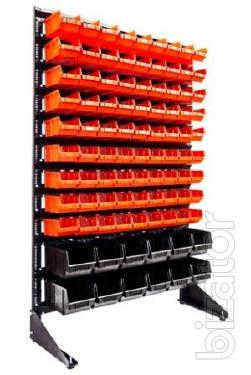 The racks of hardware, plastic boxes for storage Art/93