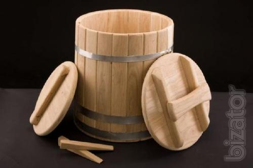 The oak barrel of pickles from the manufacturer