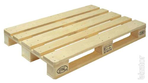 Used pallets, wooden containers