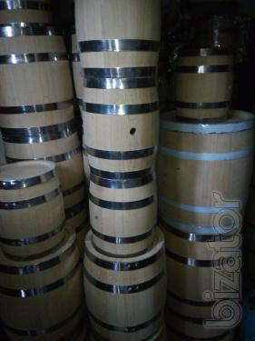Oak barrels of different volumes, tubs, jugs