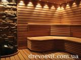 Beam shelves, deck-chair alder and lime for baths and saunas.