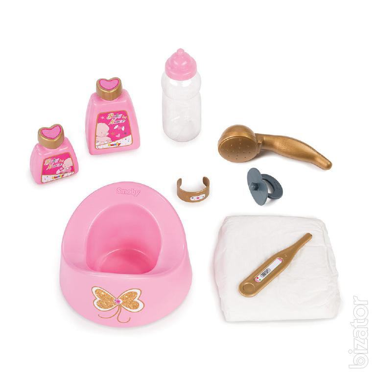 doll baby bath with accessories baby nurse smoby 220302. Black Bedroom Furniture Sets. Home Design Ideas