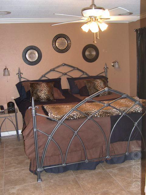 Forged bed bedroom furniture wrought iron buy on for Wrought iron and wood bedroom sets