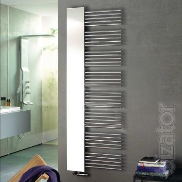 Designer heated towel rail Zehnder Yucca Mirror