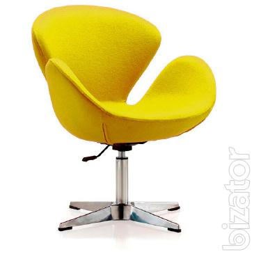Chair swanny were, base metal, fabric, color yellow