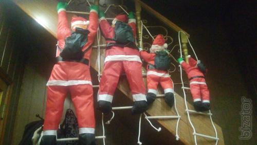 Santa Claus on the stairs.