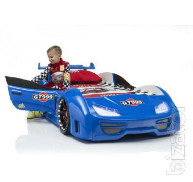 Children's bed car blue