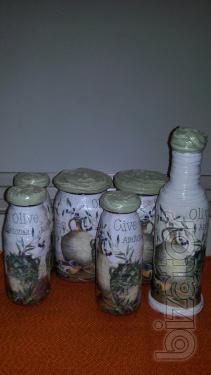 "Decorated set of bottles of""Olive"""