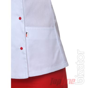 Chef's suit women's Bordeaux 1 white/red No. 1