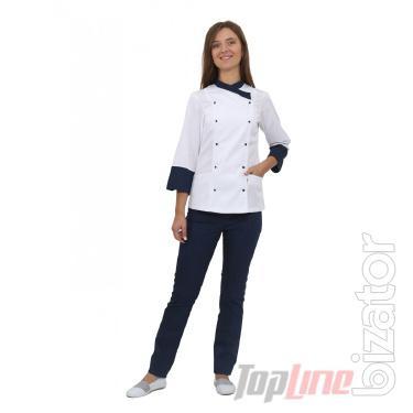 Chef's suit women's Bordeaux 2 white/blue No. 5