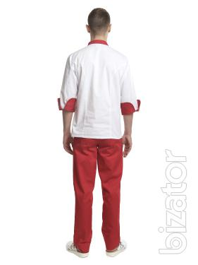 Chef's costume men's the Brussels white/red No. 7