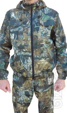 Suit camouflage for fishing, hunting, oak