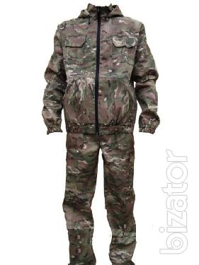 Suit for hunting, fishing, color cartoons
