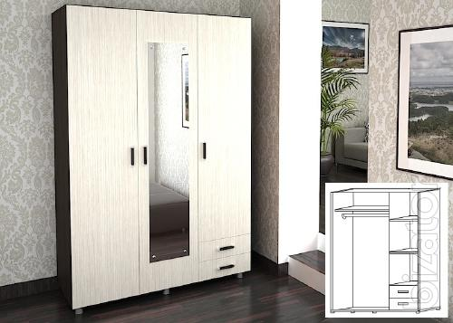The hinged wardrobe with 2 drawers wholesale and retail