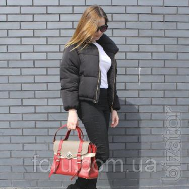 "Women's leather bag ""Nicole"" red combo"