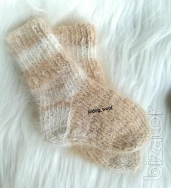 Baby socks booties from dog hair