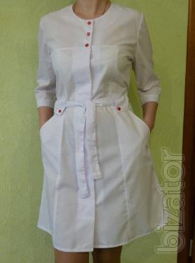 Medical women's costume with red buttons