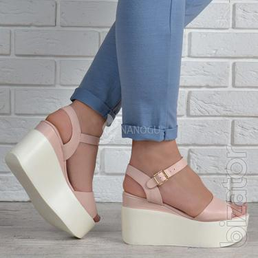 Trendy women's wedge sandals pink powder Sopra Pink 2 colors