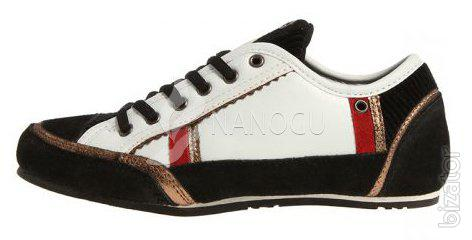 Women's suede sneakers, white with black 4Rest USA lace-up