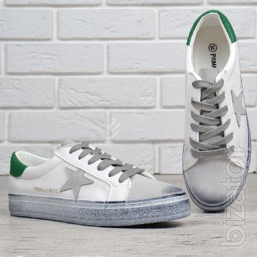 Shoes women's suede Prima d'arte white with green
