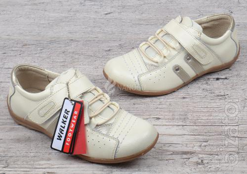 Sneakers women leather elastic with Velcro Walker beige with gold