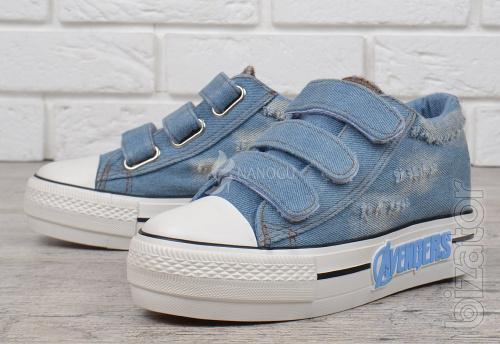 Women's denim shoes platform bright Avengers Velcro