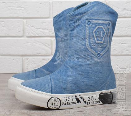 Women's boots platform denim light Jeans fashion