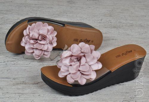 Flip flops women's wedge sandals with transparent flower Betto 2 colors