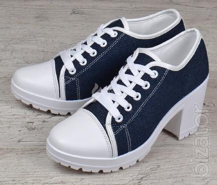 Shoes women's jeans wide-heeled shoes Miu Miu style