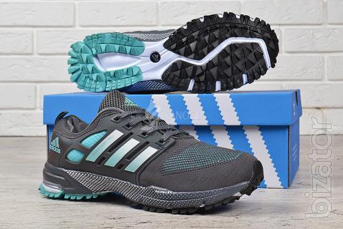 Running shoes mens Adidas Marathon tr 21 textile grey green
