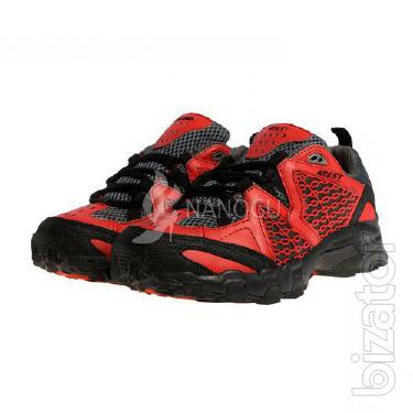 Mens trekking running shoes breathable 4Rest USA black with red