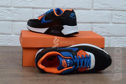 Sneakers men leather Nike Air Max 90 black blue orange
