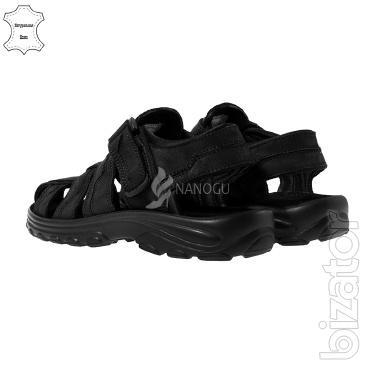 Sandals mens black leather Velcro 4Rest USA