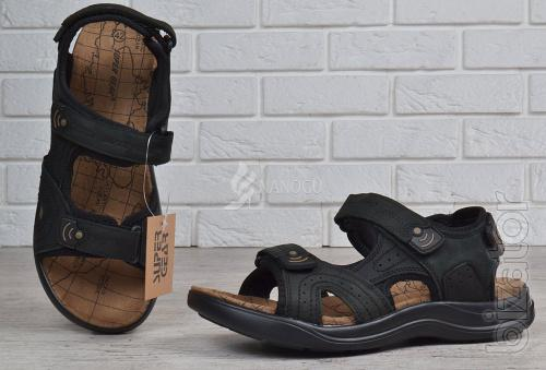Mens leather sports sandals Velcro Super Gear Hungary black