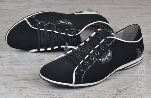Shoes men's leather lace-up Clowse black
