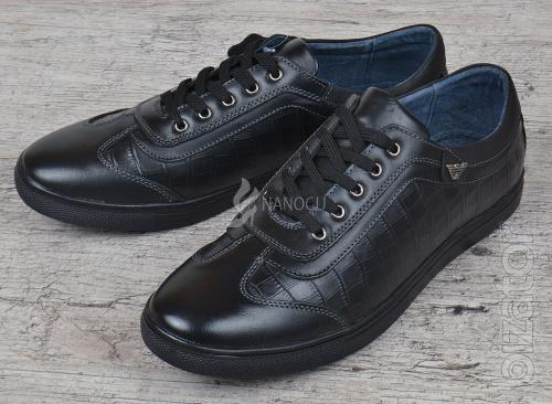 Shoes casual mens leather Armani style black lace-up