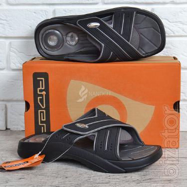 Slippers men's Cross Rider comfort ad exp black with grey Velcro