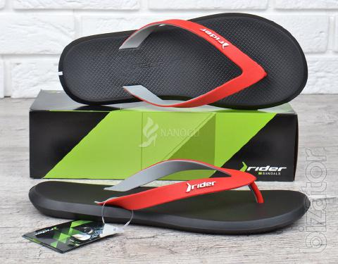 Mens Rider flip flops Ad black red original