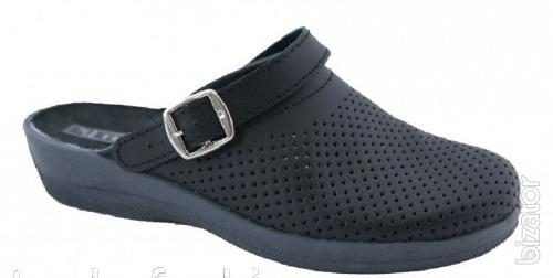 Clogs leather womens, black