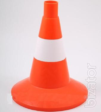 Cone traffic flexible 320 mm with reflective stripe