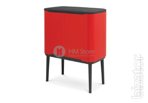 Bucket for waste sorting two-piece Bo Brabantia Touch Bin 11/23 l Passion Red