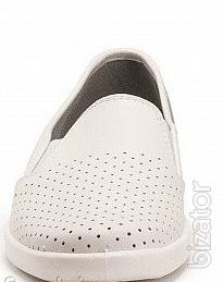 Women's leather shoes, white perforated shoes for chefs