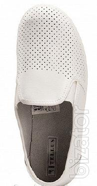 Shoes mens leather white / black with perforation