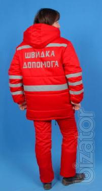 Suit ambulance winter, women's, red