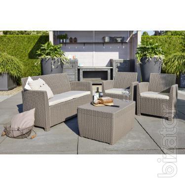 Garden furniture Corona Set With Cushion Box artificial rattan Allibert, Keter
