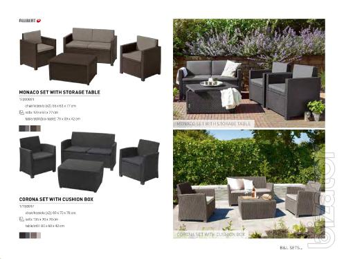 Garden furniture Monaco Set With Storage Table Allibert rattan, Keter