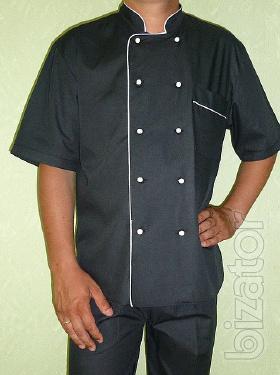Cook suit short-sleeve, white, black, Burgundy