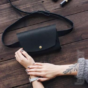 Leather female bag on a belt - Navy. Women's waist leather handbag